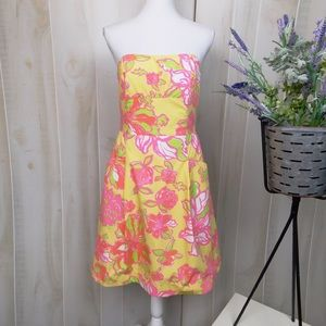 Lilly Pulitzer Yellow Floral Sleeveless Sun Dress